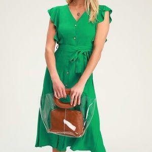 Capri Coast Green Button-Front Midi Dress